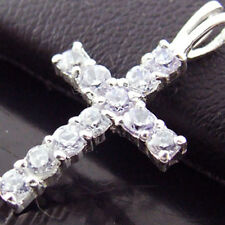 CROSS PENDANT GENUINE HALLMARKED REAL 925 STERLING SILVER DIAMOND SIMULATED