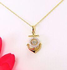 "Trembling / Dancing Diamond .45 ctw 14K Yellow Gold Anchor Cross Pendant 16"""