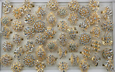 Wholesale lots 15pcs Mix Design Clear Rhinestone Gold P Adjust ring jewelry L469