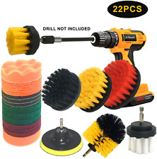 22 Piece Drill Brush Attachment Set Power Scrubber Drill Brush Kit Scrubing Pads