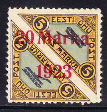 More details for estonia 1923 sg47a 20m on 5m surcharged pair p111/2 mounted mint gum dist cv£325