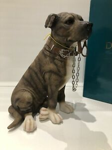 Sitting Brindle Staffordshire Bull Terrier Ornament Figurine Gift
