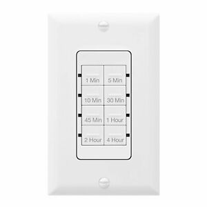 TOPGREENER Countdown Timer Switch In Wall Fan / Light Control 1 Min - 4 Hour