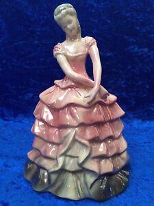 Vintage Jema Pottery, Holland, 9'' Pink Lustre Ware, Lady Figurine Model 219