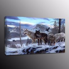 Modern Home Decor Canvas Print Painting Wall Art Wolf Wolves Snow Group