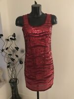 Red Sequin Dress Size M/l 12 14 New