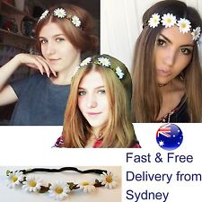Daisy flower power headband - 5 decorative white flowers in wreath on elastic