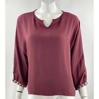 BKE Top Large Maroon Red Split Neck Embroidered Cuffs 3/4 Sleeve Blouse Womens