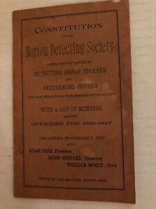 1886 Norton Massachusetts Horse Thief Detecting Society