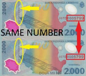 Romania SET 2 POLYMER BANKNOTES WITH SAME NUMBER 2000 Lei 1999 P# 111 UNC 25028