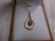 Vintage Avon Tigers Eye pendant and chain - gold tone - Made in Ireland