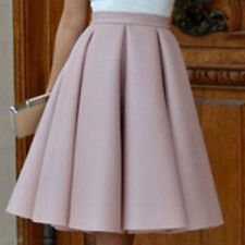 Women Plus Size Vintage Stretch High Waist Plain Flared Pleated Skater Skirt