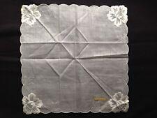 Antique Fine Vintage White Lady's Linen Lace Hankie Austria French Zone Gift