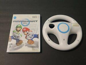Mario Kart Wii (Nintendo Wii, 2008) Complete w/ White Wii Wheel Bundle - Tested