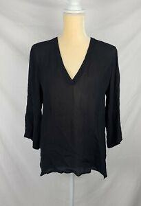 Zara Woman Black Chiffon V-Neck Top sz M