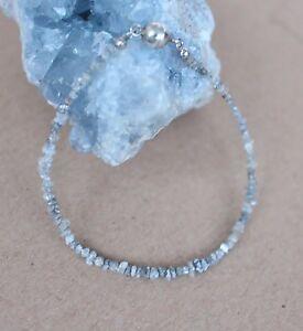 Roh-Diamant Edelstein Armband ,Magnetverschluss,20 cm,2-3  mm, grau ( KMN-1)