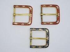 "LOT of 3 VINTAGE 60's CHINESE EXPORT FLORAL CLOISONNE BUCKLE ~ 1.75""x  1 5/8"""