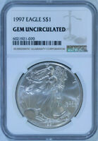 1997 American Silver Eagle Dollar $1 / .999 Pure / Certified NGC GEM BU 🇺🇸