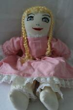 "Vtg HANDMADE Soft Stuffed 2-Sided/Face Blonde Pig-Tail DOLL Plush/Toy 15"" (Z4)"