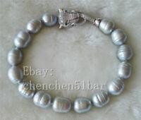 charme 10-11mm graue Süßwasser perle armband leopard kopf verschluss