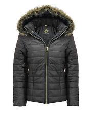New Ladies Shiny Wet Look Women's Short Quilted Fur Hooded Zip Up Jacket Coat