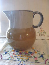 STONEWARE PITCHER CREAM & BROWN SPECKLED FINISH LARGE PIER ONE IMPORTS VINTAGE