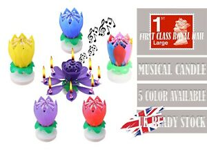 COLOR MUSICAL LOTUS FLOWER HAPPY BIRTHDAY CANDLE PARTY BIRTHDAY GIFT PRESENT