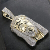 2 Ct Diamond Real 10K Yellow Gold Jesus Face Head Charm Pendant For Men's