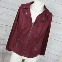 Style & Co 0X Jacket Womens Burgundy Faux Suede Plus Size MSRP $90