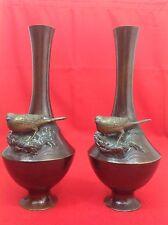 JAPON Ère Meiji 明治時代 XIXe 19° Paire vases bronze Décor au moineau Signés