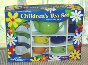 Vintage SCHYLLING Boxed Child's Tea set COLORFUL!