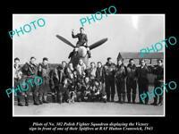 OLD LARGE HISTORIC PHOTO POLAND MILITARY POLISH FIGHTER SQUADRON RAF HUTTON 1943