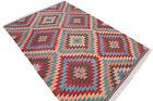 """Turkish Classic Antalya Kilim 82"""" x 117,3"""" Hand Woven zigzag Pattern Area Rug"""