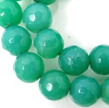 """8mm Faceted Green Agate Round Beads 15"""""""