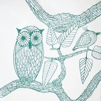 Teal and White Fabric Shower Curtain: Owl and Apple Tree Design