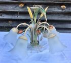 Tole Painted Metal Chandelier Toleware w Tulips 5 Light Fixture Shabby Chic MCM
