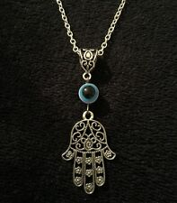 "Hamsa Hand Necklace 18"" Hand of Fatima Spiritual Yoga Buddha Evil Eye Pendant"