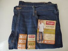 Wrangler Men's 5 Star Relaxed Fit Jeans With Flex - Dark Blue - Size 46x32