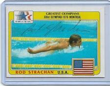 1983 TOPPS GREATEST OLYMPIANS ROD STRACHAN AUTOGRAPH AUTO CARD ~ USA SWIMMING
