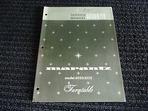 Vtg Original Marantz Service Manual Model 6050 / 6110 Turntable