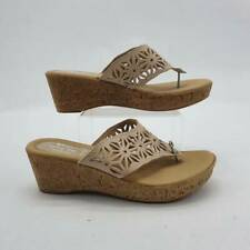 Spring Step Womens Thong Wedge Sandals Beige Cut Out Slip Ons 8.5-9 EUR 39