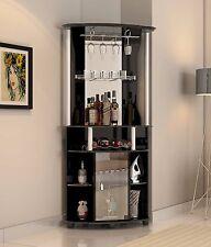 Wine Cabinet Home Bar Storage Corner Liquor Rack Stemware Furniture Wood Pub New