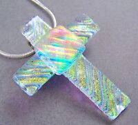 Cross PIN PENDANT Dichroic Fused Glass Gold Yellow Orange Ripple Texture Layered