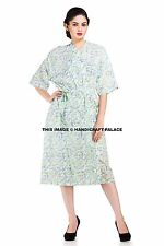 Indian Cotton Block Printed Hippie Boho Long Kimono Robe Floral Nightwear Dress