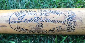 "Vtg 1960s Ted Williams Sears Roebuck & Co Baseball Bat 34"" Model # 1651 340"