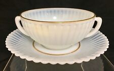 Antique White Opalescent w/ Gold Guild Trim Two Handled Glass Cup & Saucer Set