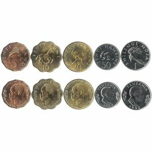 5 COINS FROM TANZANIA. 1966-1992. UNC 1 SENTI - 1 SHILING. OLD CURRENCY