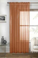 Orange Vertigo Shimmer Silver Stripe Voile Net Curtain Slot Top Single Panel