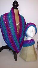 "Handmade Infinity scarf & Hat  11""w x 50""c'' multi-color unisex"