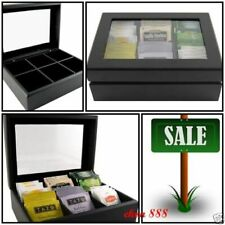 TEA BAG CHEST BLACK WOOD /CLEAR ACRYLIC WINDOW NEW/SEALED ENTERTAIN/STORAGE/GIFT
